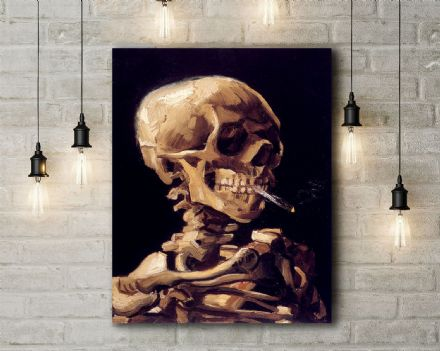 Vincent van Gogh: Skull with Burning Cigarette. Fine Art Canvas.